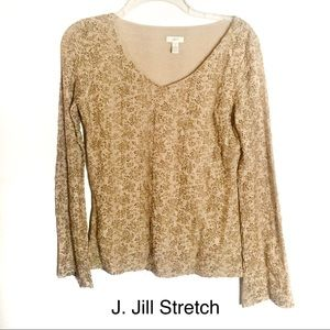 J Jill Stretch Brown Floral Textured Long Sleeve-S